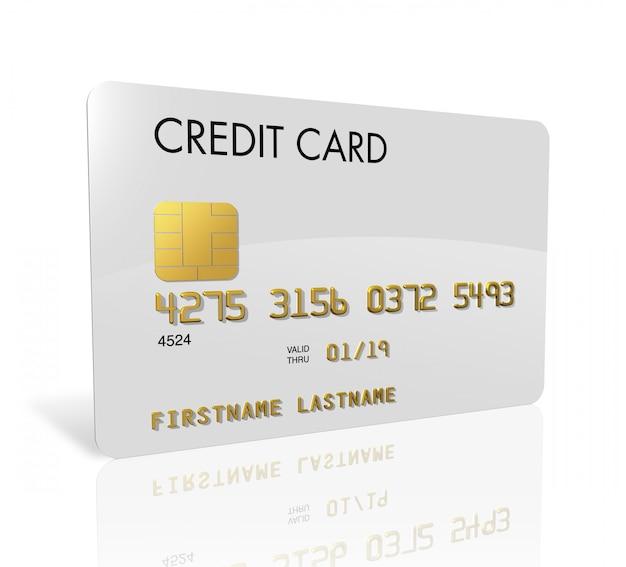 Cartão de crédito branco isolado no branco com traçado de recorte Foto Premium