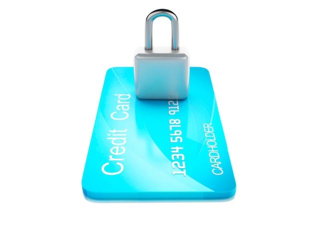Cartão de crédito e lock.safe bancário conceito sobre fundo branco Foto Premium