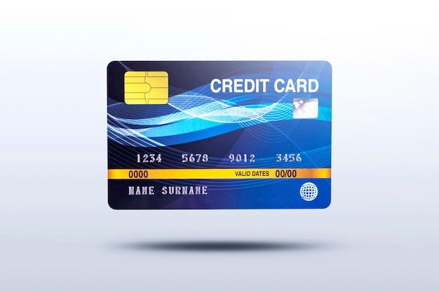Cartão de crédito empresarial isolado em fundo cinza com sombra Foto Premium