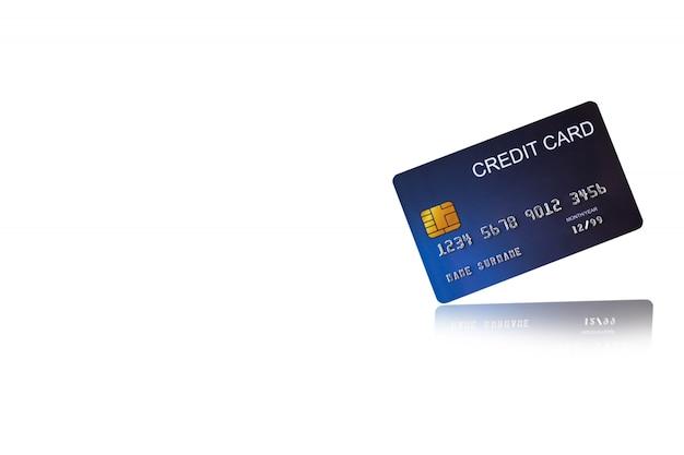 Cartão de crédito no fundo branco e-shopping marketing Foto Premium