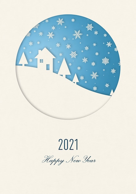 Cartão de feliz ano novo de inverno vintage com uma casa sob os flocos de neve. 2021 Foto Premium