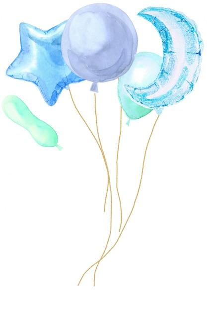 Cartão de festa em aquarela com balões brilhantes Foto Premium