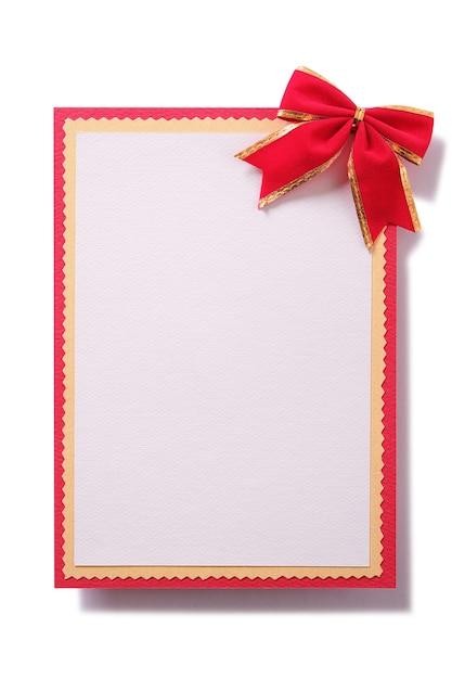 Cartão de natal laço vermelho decoração vertical Foto gratuita