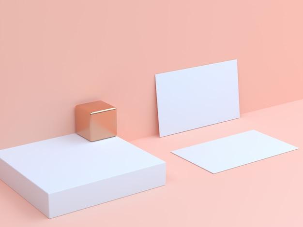 Cartão de papel branco de renderização 3d definir fundo creme Foto Premium