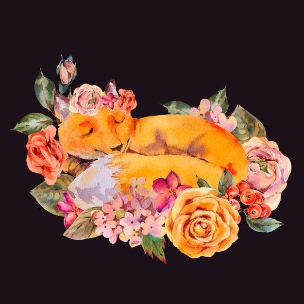 Cartão em aquarela raposa floral, raposa adormecida, rosas, hortênsias, flores silvestres. Foto Premium