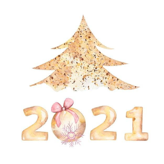 Cartão postal de saudação de feliz ano novo em aquarela de 2021 com árvore de natal, floco de neve Foto Premium