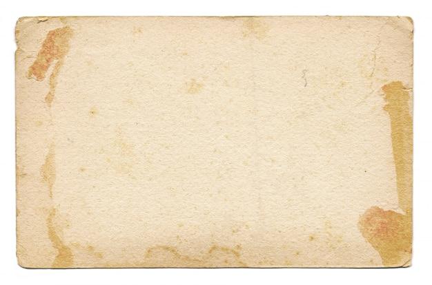 Cartão vintage vazio e velho, isolado em um fundo branco Foto Premium