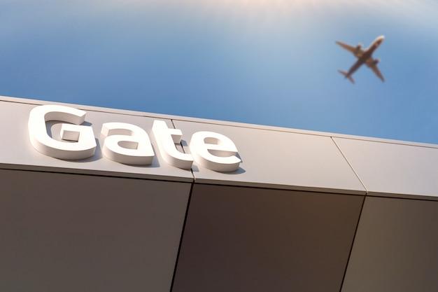 Cartas de portão de aeroporto - caminho para a partida. avião borrado no céu azul. Foto Premium