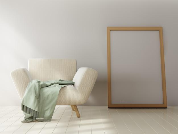 Cartaz de maquete em fundo de parede branca. renderização em 3d. Foto Premium