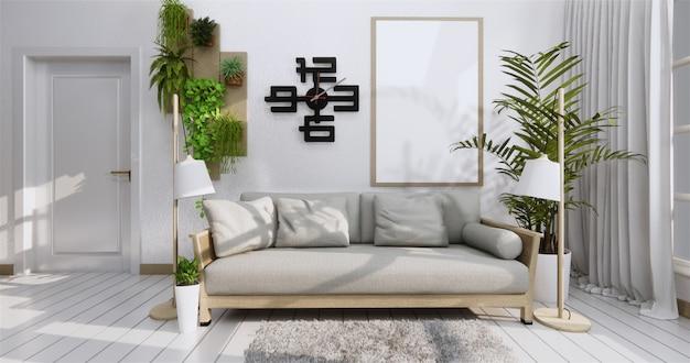 Cartaz interior com frame, sofa, planta e lmpada no estilo do zen da sala de visitas. . Foto Premium