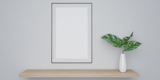 Cartaz interior em casa simulado com poster e planta em vaso branco Foto Premium