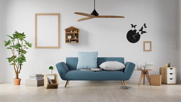 Cartaz interior mock-se sala de estar com sofá branco colorido. renderização em 3d. Foto Premium