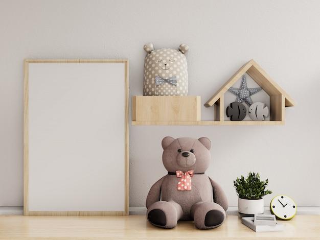 Cartazes no interior do quarto de criança, renderização em 3d Foto Premium