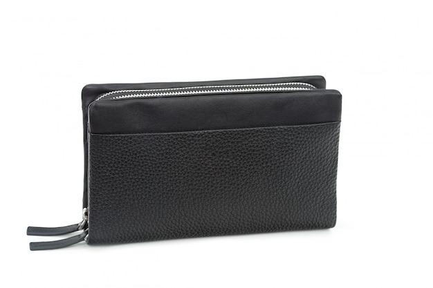 Carteira de couro preto masculina isolada no branco Foto Premium