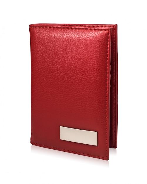 Carteira vermelha do passaporte isolada no fundo branco. modelo de bolsa de couro para seu projeto. Foto Premium