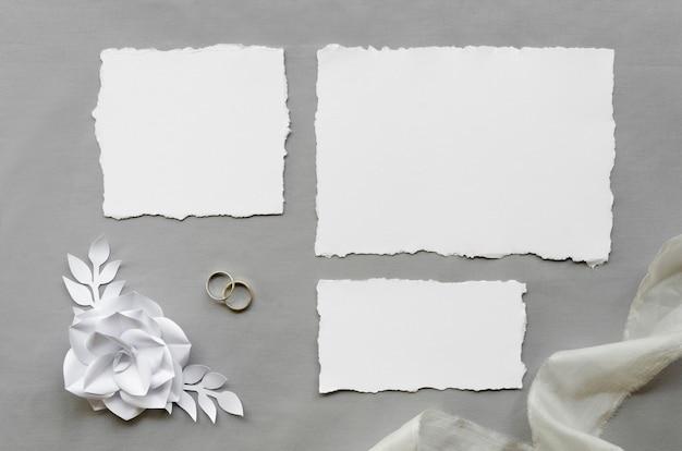 Cartões de casamento em branco simples plana leigos Foto gratuita