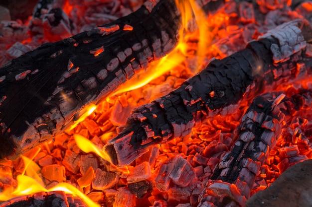 Carvão de churrasco, carvão ardente Foto Premium