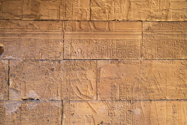 Carvings jeroglíficos reais nas paredes de um templo egípcio antigo. Foto Premium
