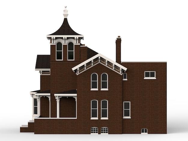 Casa antiga em estilo vitoriano. ilustração em fundo branco. espécies de lados diferentes Foto Premium