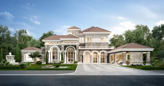 Casa clássica moderna de renderização 3d com jardim de design de luxo Foto Premium