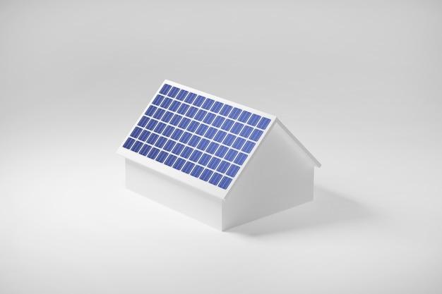 Casa com painéis solares no telhado, energia elétrica limpa da célula solar, ilustração 3d. Foto Premium