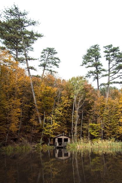 Casa de forester na floresta no monte ai-petri, na crimeia. local de descanso para turistas. Foto Premium