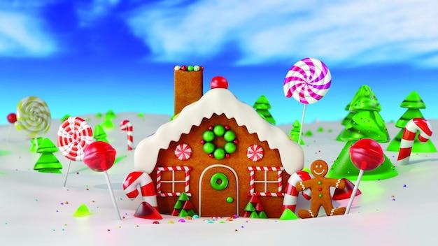 Casa de gengibre de natal na neve. renderização em 3d Foto Premium