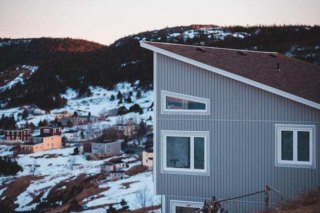 Casa de madeira branca e marrom perto de árvores verdes durante o dia Foto gratuita