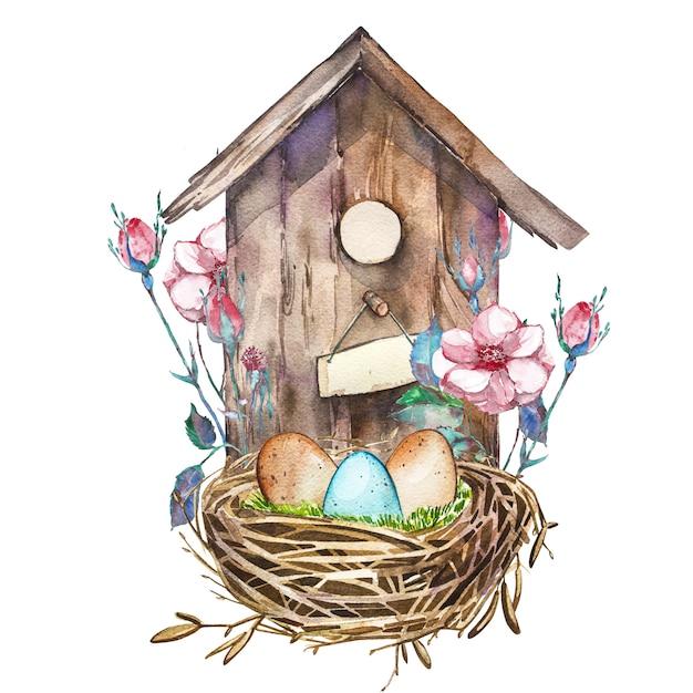 Casa de passarinho em aquarela com flores da primavera, ovos. caixa de ninho pintada à mão com vista para o design de páscoa de prateleiras Foto Premium