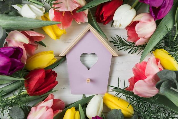 Casa de pássaro de forma de coração rodeada de tulipas coloridas na mesa de madeira Foto gratuita