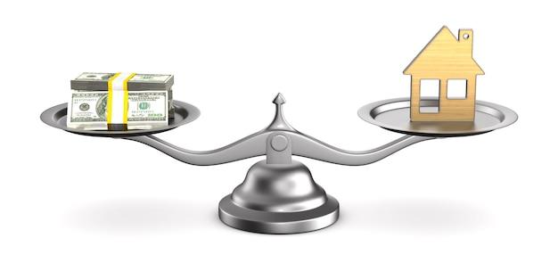 Casa e dinheiro em escalas. ilustração 3d isolada Foto Premium