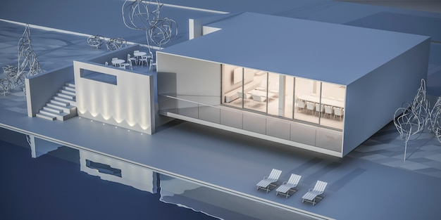 Casa em estilo minimalista. showroom. renderização 3d. Foto Premium