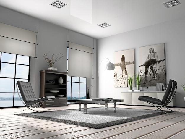 Casa interior renderização em 3d da sala de estar Foto Premium