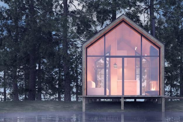 Casa minúscula isolada na margem arenosa de um lago com neblina em uma floresta de coníferas, sob iluminação fria e nublada, com luz quente das janelas. ilustração 3d de estoque Foto Premium
