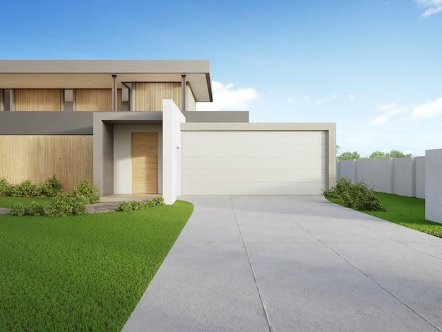 Casa moderna e grama verde com o céu azul na venda dos bens imobiliários ou no conceito de investimento imobiliário. Foto Premium