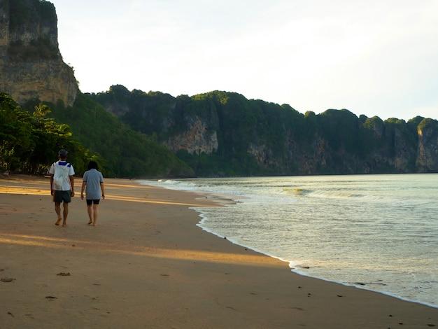 Casais caminhando na praia Foto Premium