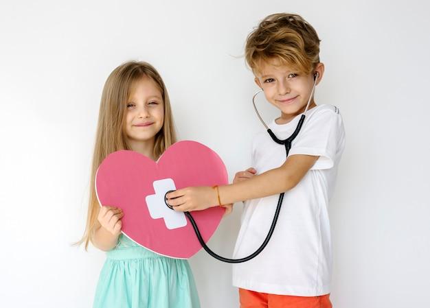 Casal crianças amigo companheirismo protrait Foto Premium