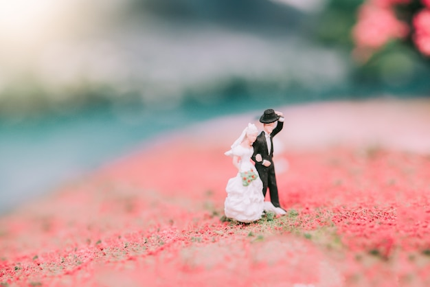 Casal de noivos em miniatura com fundo de natureza Foto Premium