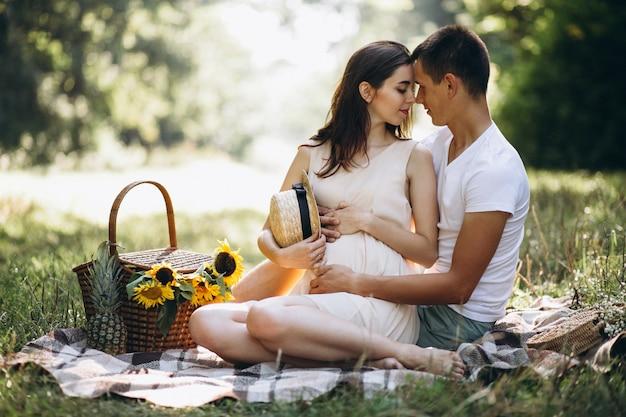 Casal grávida, fazendo piquenique no parque Foto gratuita