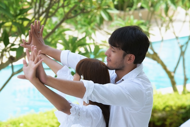 Casal romântico wedding photography.couples ama o jovem e doce. Foto Premium