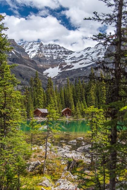Casas campo, em, lago, ohara, trilha hiking, em, nublado, dia, em, primavera, yoho, canadá Foto Premium