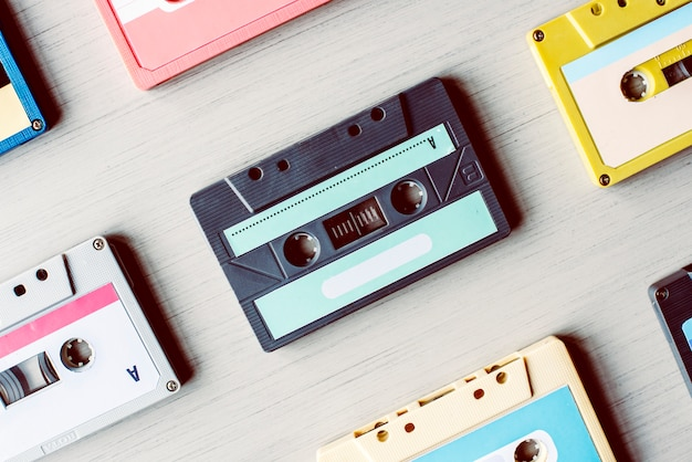 Cassete fita vintage set coleção Foto Premium