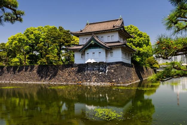 Castelo do palácio imperial com reflexão Foto Premium