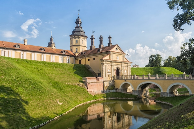 Castelo restaurado antigo com um fosso na cidade de nesvizh. Foto Premium
