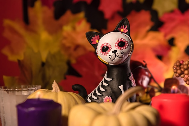 Cat catrina skull dia da celebração dos mortos Foto Premium