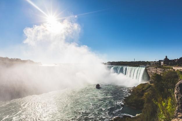 Cataratas do niágara vista panorâmica do lado do canadá Foto Premium