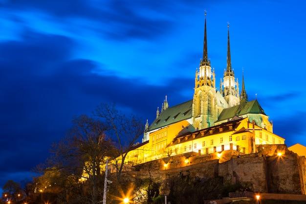 Catedral de são pedro e são paulo em brno, morávia, república tcheca durante o crepúsculo do sol Foto Premium