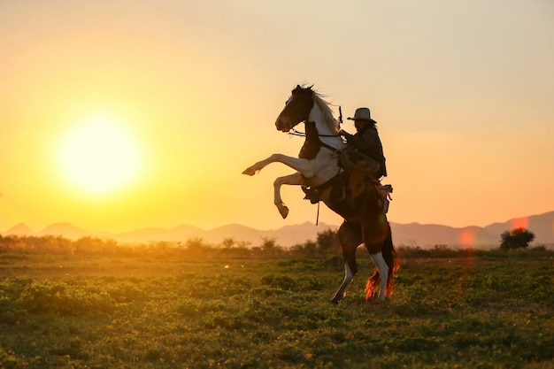 Cavalo de cowboy equitação contra o pôr do sol Foto Premium