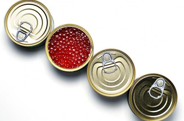 Caviar vermelho de peixe salmão Foto Premium