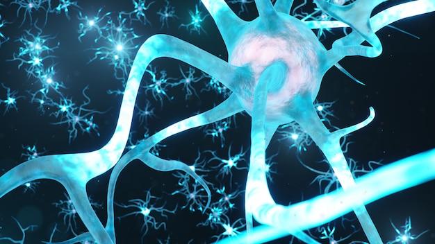 Células neurais abstratas. sinapses e células neuronais enviam sinais químicos elétricos. Foto Premium